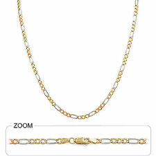 """3.50mm 24"""" 10.00gm 14k Solid Gold Tri Color Men's Women's Figaro Chain Necklace"""