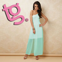 TG Size 12 Aqua Blue One Shoulder Women's Maxi Dress