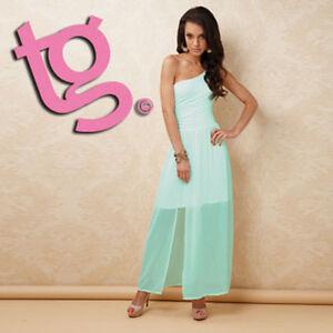 TG Size 12 Aqua Blue One Shoulder Summer Sun Holiday Beach Pool Maxi Dress