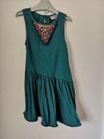 Girls Age 5 Next Green Dress embellished casual summer dress, slant hem dress