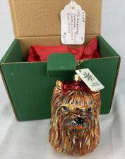Yorkshire Terrier Dog Handmade Blown Glass Christmas Ornament Slavic Treasures