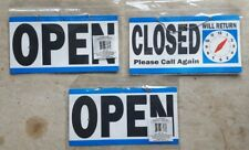 3 Sign Boards Lot Shop Door Reversible Open Closed w/ Time Clock & Hanging Chain