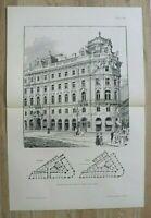 AR1) Architektur Wien 1901 Palais Herberstein Österreich Cafe Holzstich 55x37 cm