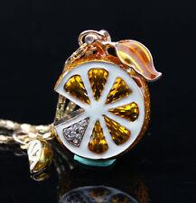 B18 Betsey Johnson Crystal Yellow Enamel Lemon Pendant Sweater Chain Necklace