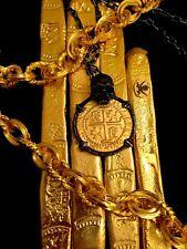 """PERU """"SKULL PENDANT"""" LIMA 1710 8 ESCUDOS GOLD PLTD.  DOUBLOON TREASURE COB COIN"""