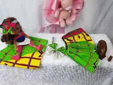 Newborn African Ankara Skirt Set With Bow A Lil HeadWrap For Mom 4Pc Waist 15""
