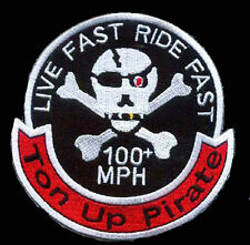 TON UP PIRATE 59  CAFE RACER OVAL 4 INCH EMBROIDERED BIKER PATCH