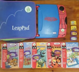 Leap frog learning pad - spiderman system with carry case, 5 books