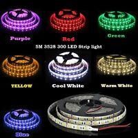 DC12V 5M SMD 3528 RGB White Waterproof 300 LED Flexible 3M Tape Strip Light US