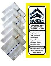 2 PREMIUM White Mens Luxury Business Handkerchiefs100% Cotton Hankies 45x45CM