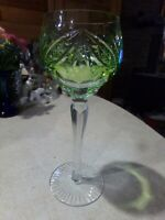 Nachtmann Cut Crystal Reseda Lime Green Goblet Glass With Stars 8 1/4""