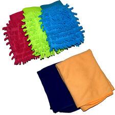 5 Pcs Combo - 3 X Microfiber Car Cleaning Wash Mitt Gloves, 2 X Microfiber Cloth