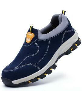 Blau Sicherheitsstiefel S3 Arbeitsschuhe Stahlkappe Schlüpfen Turnschuhe Sneaker