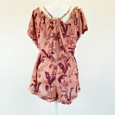 Topshop Women's Size Small Pink Floral Lightweight Halter Coverup Romper NEW