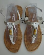 Dana Buchman T-Strap White Bamboo Open Toe Sandal Size 11 (XL) New