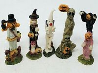 Halloween Pencil Thin Figurines Scarecrow Witch Lot of 5 Pumpkin Ghost Ghouls