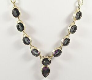 Beautiful Sterling Silver Mystic Topaz Dropper Necklace and Chain