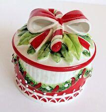 Fitz and Floyd ~ Christmas Candy Cane Santa Lidded Candy / Trinket Dish