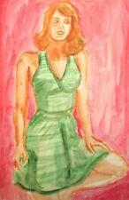 Vintage fauvist watercolor painting girl portrait