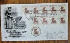 BABY BUGGY 1880s TRANSPORTATION COIL STRIP ARTCRAFT CACHET 1984 FDC PNC#2
