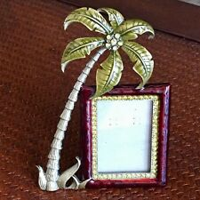 "Ashleigh Manor Picture Frame 2 x 3"" Photo Enameled Rhinestone Palm Tree Tropical"
