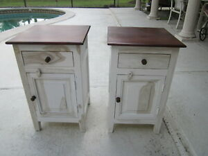Wood Accent Table Side Nightstand With Door And Drawer   SHIPPING NOT INCLUDED