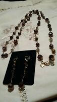 "Cookie Lee 40"" necklace & earrings w/ bronze/clear/smoky/tiger colored beads"