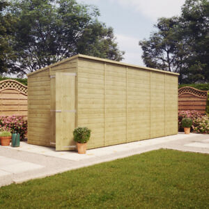 16x6 Pressure Treated Pent Garden Shed Windowless Gable End Door LEFT END 16x6'