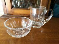 Waterford Crystal Glass Creamer Open Sugar Bowl Set Vertical Diamond Cuts