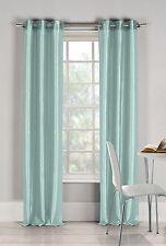 "Two (2) Aqua Blue Window Curtain Panels: Faux Silk, Silver Grommets, 76"" x 84"""