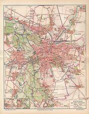 LEIPZIG Gohlis Connewitz Möckern Lindenau Plagwitz Gautzsch  Stadtplan von 1896