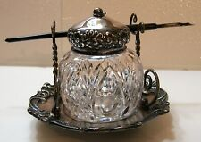 Antique Ball Shaped Cut Glass Inkwell w/ Wilcox Silver Co. Pen &Pen Holder Stand
