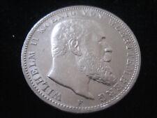 """MDS KAISERREICH DREI MARK 1909 F """"WILHELM II. VON WUERTTEMBERG"""", SILBER  #32"""
