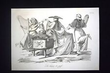 Incisione d'allegoria e satira Morte di Carlo Alberto di Savoia Don Pirlone 1851