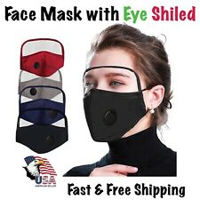 REUSABLE WASHABLE COTTON FACE MASK With Eye Shield Cover ,Valve Filters Pocket.