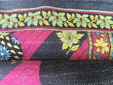 Kantha Handmade Reversible Quilt or Throw from India