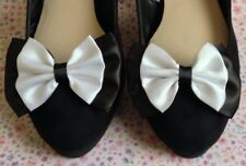 "PAIR BLACK & WHITE SATIN MONOCHROME 3"" BOW SHOE CLIPS GLAMOUR BOWS RETRO VINTAGE"