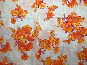 """280x85cm (109.5x33.5"""") Vintage 1960s Floral Cotton Lawn Dress Blouse Fabric"""