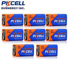 8PCS PKCELL Industrial 9 Volt (9V) 6LR61 Alkaline Batteries (EN22, 6LR61, 1604)