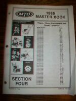 1986 MTD Master Book Parts Manual & Breakdowns Section 4 -Tillers,Snow Throwers