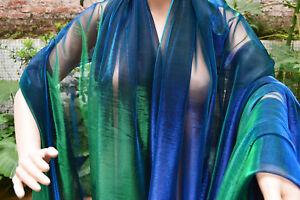 M12 Green Blue Metallic Iridescent 2 Tones Stretch Mesh Net Fabric Material