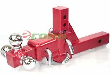 """3 Way Tri Ball Adjustable  2""""  Receiver Raise Drop Verticle Triple Tow Hitch RED"""