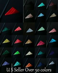 Men's pocket square, Hanky Handkerchief High Quality  Satin Solid Pattern Colors