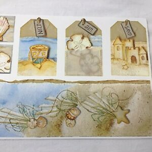 "12"" Ocean Sand Seashell Beach Sandcastle SCRAPBOOK Premium Cardstock STICKERS"