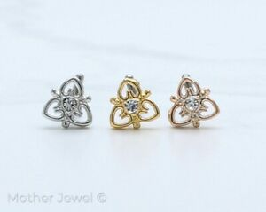 TRIPLE HEART SILVER YELLOW ROSE GOLD IP SIMULATED DIAMOND L SHAPE NOSE STUD 20G