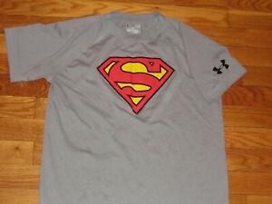 UNDER ARMOUR HEATGEAR DC COMICS SUPERMAN SHORT SLEEVE T-SHIRT BOYS LARGE 14-16