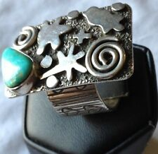 """Ring Handcrafted Sterling Silver With Turquoise Alex Sanchez Artist 9.25"""""""