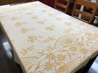 Vintage 40's Yellow-Orange Coverlet Bedspread; Damaged - Sold As FABRIC (RF871)