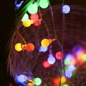 Globe Ball Christmas Fairy Lights. 8M Battery 80 Cool/Warm White/ RGB LED Lights