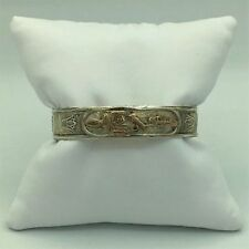 Vintage 14K White and Yellow Gold Egyptian Style Bracelet 22 Grams